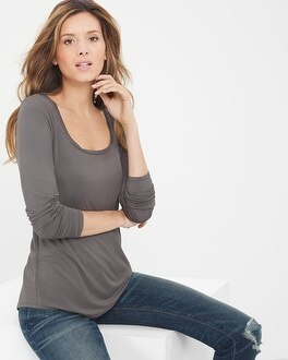 Long-Sleeve Scoop Neck Tee