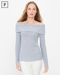 Petite Off-The-Shoulder Marled Shine Sweater
