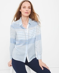 Long-Sleeve Button-Front Striped Shirt