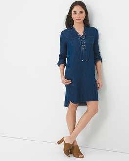 Three-Quarter Sleeve Lace-Up Denim Dress