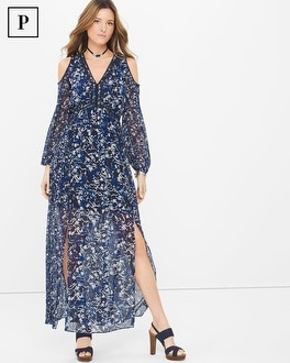 Petite Long-Sleeve Cold-Shoulder Abstract Floral Maxi Dress