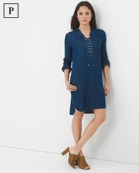 Petite Three-Quarter Sleeve Lace-Up Denim Dress