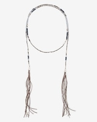 Beaded Leather Double-Tassel Lariat Necklace
