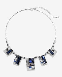 Silvertone Blue Geo Stone Short Necklace