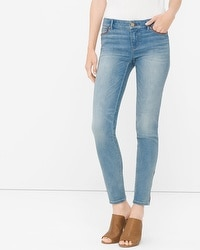 Leather Trim Skimmer Jeans