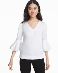 The Carmen White Bell Sleeve Poplin Top