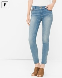 Petite Leather Trim Skimmer Jeans