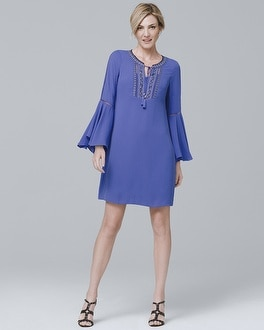 Embroidered Bell-Sleeve Shift Dress