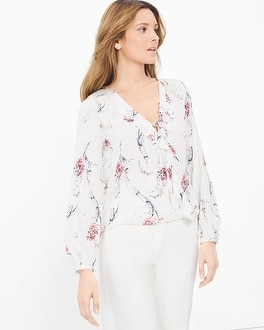 Ruffle Surplice Printed Blouse
