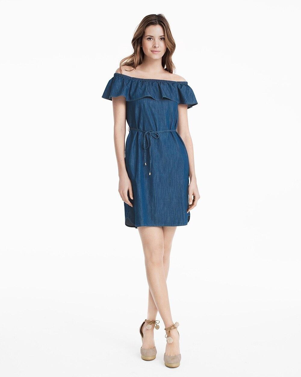 6595d9d3dcd0 Denim Off-The-Shoulder Shift Dress - White House Black Market
