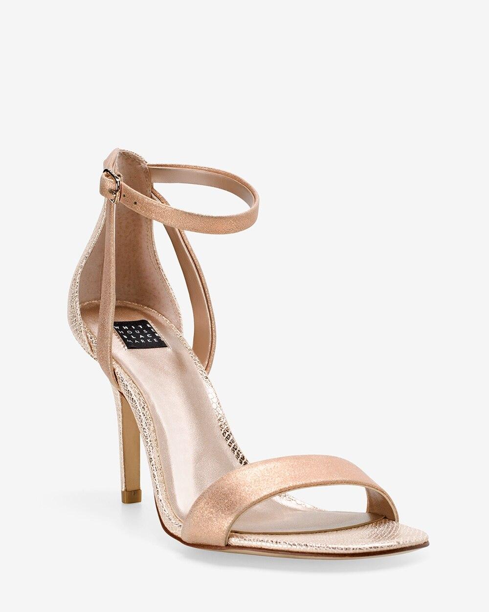 8480c07feb4 Rose Gold Strappy Mid-Heel Sandals - White House Black Market