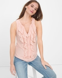 Pink Ruffle-Front Shell