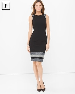 Petite Sleeveless Black Tweed Border Sheath Dress