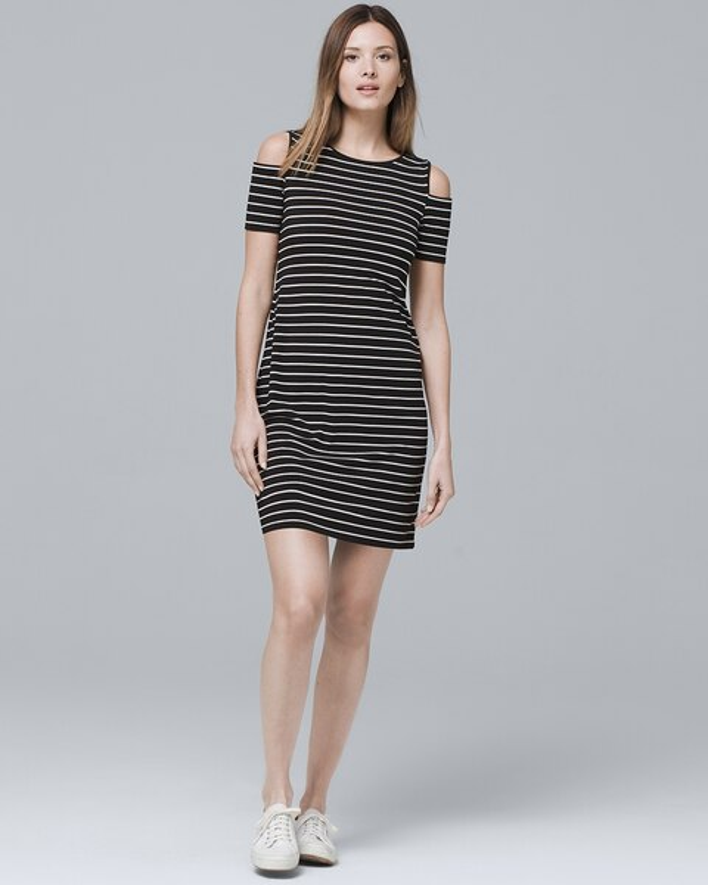 be3a7d773 Cold Shoulder Stripe Knit Shift Dress - White House Black Market