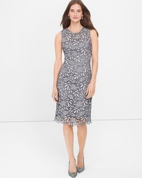 Silver Tonal Lace Sheath Dress