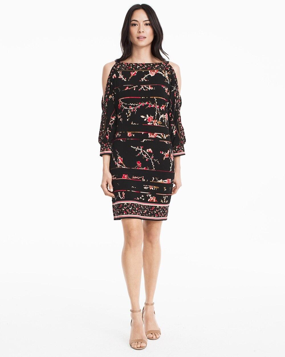 2085ee4b338 Split Sleeve Floral Print Knit Shift Dress - White House Black Market
