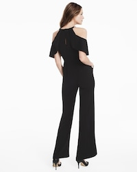 803d535fa5e Ruffle Cold-Shoulder Black Jumpsuit - White House Black Market