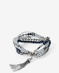Silvertone Blue Beaded Stretch Bracelet