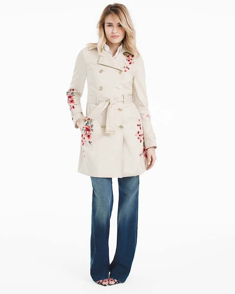 Double Breasted Floral Embroidered Trench Coat - WHBM