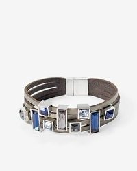 Leather Stone Multi-Row Bracelet