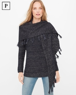 Petite Removable Scarf Pullover Sweater