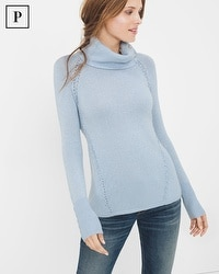 Petite Stitch-Detail Turtleneck Sweater