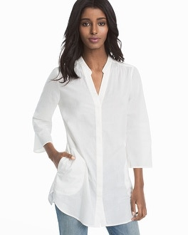 White Cotton Button-Front Shirt