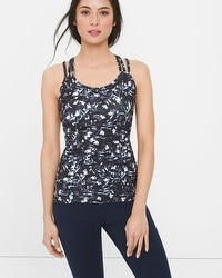 Abstract Floral Print Cross-Back Cami