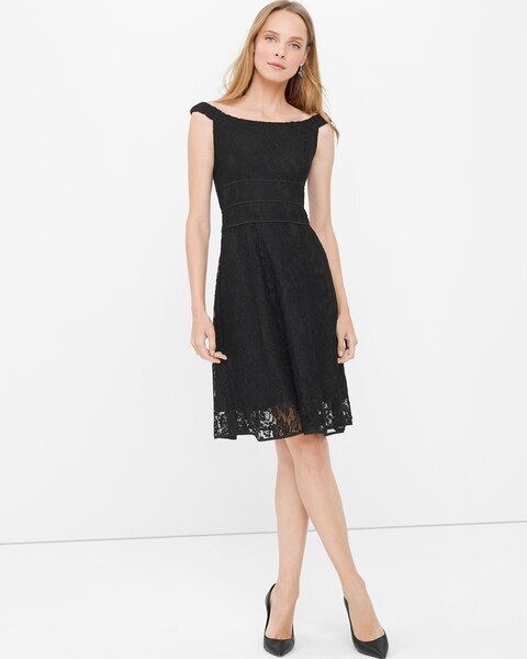Off The Shoulder Black Lace Fit And Flare Dress White House Black