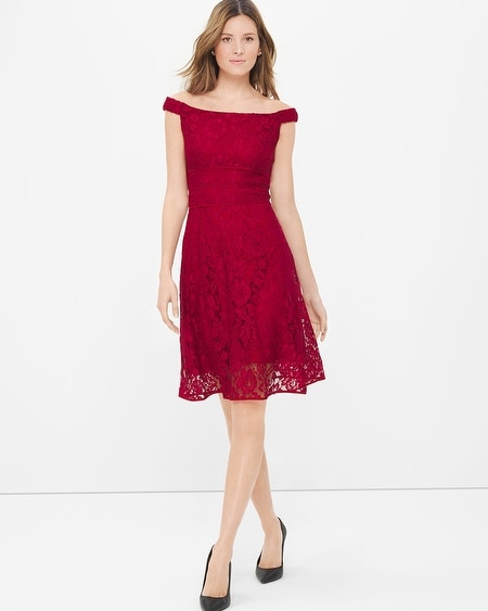 Off-The-Shoulder Lace Fit-and-Flare Dress