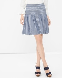 Contrast Embroidered Chambray Skirt