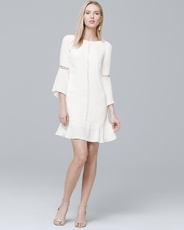 Bell Sleeve White Shift Dress by Whbm