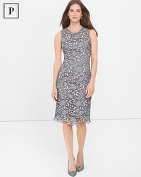 Petite Silver Tonal Lace Sheath Dress