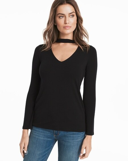 Long-Sleeve Choker Top