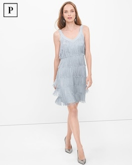 Petite Metallic Fringe Dress