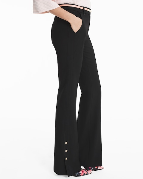 skilful manufacture factory price 100% top quality Black Button-Trim Flare Pants