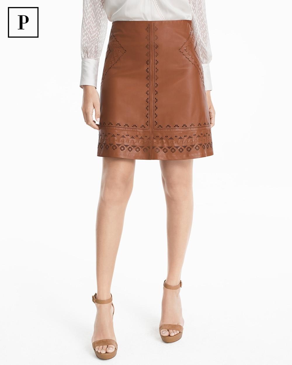 c68bd37ace70 Petite Laser-Cut Leather A-line Skirt - White House Black Market