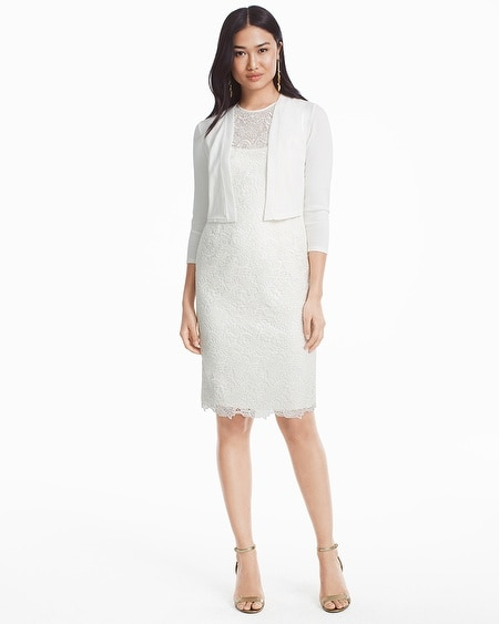 Sleeveless White Lace Sheath Dress - WHBM