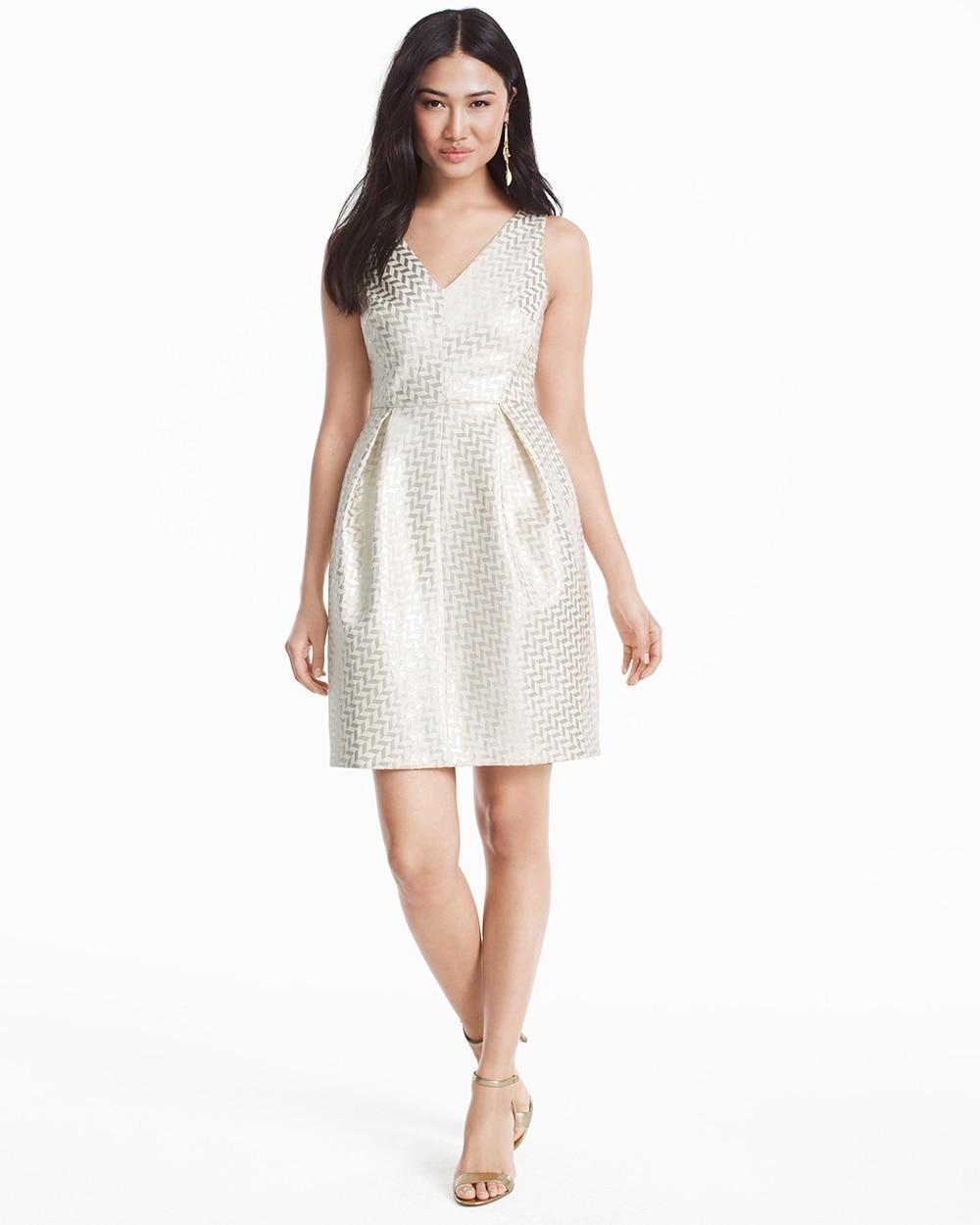 ebe27a9a00860 Gold Jacquard Geo Tulip Dress - White House Black Market
