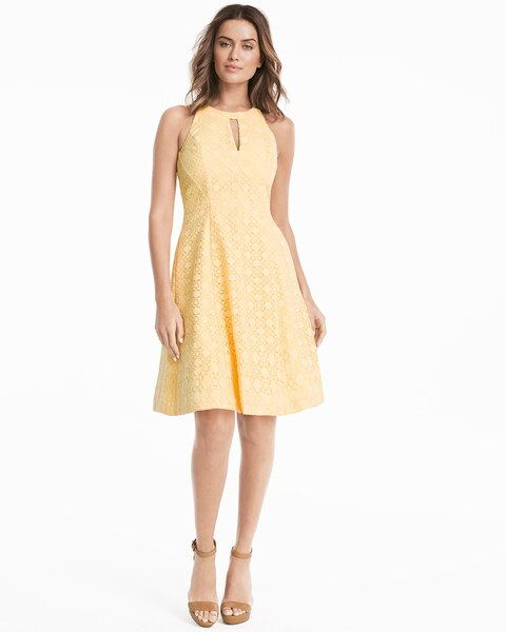 9132e83b307 Lace Halter A-line Dress - White House Black Market