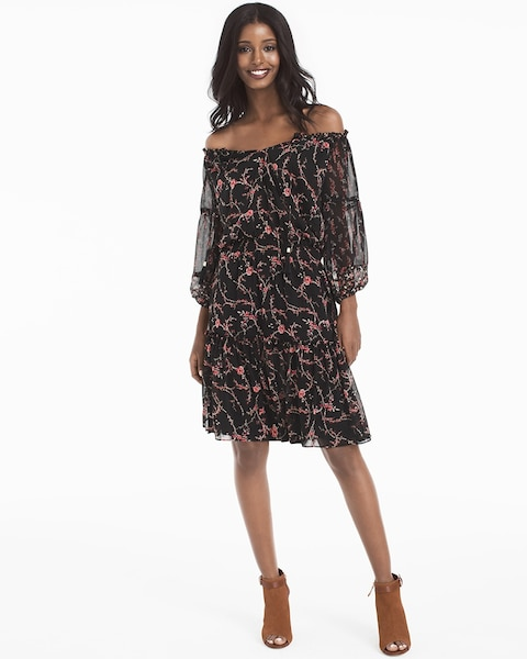 2b51376ac4 Return to thumbnail image selection Off-the-Shoulder Mixed Floral Print  Dress video preview image, click to start
