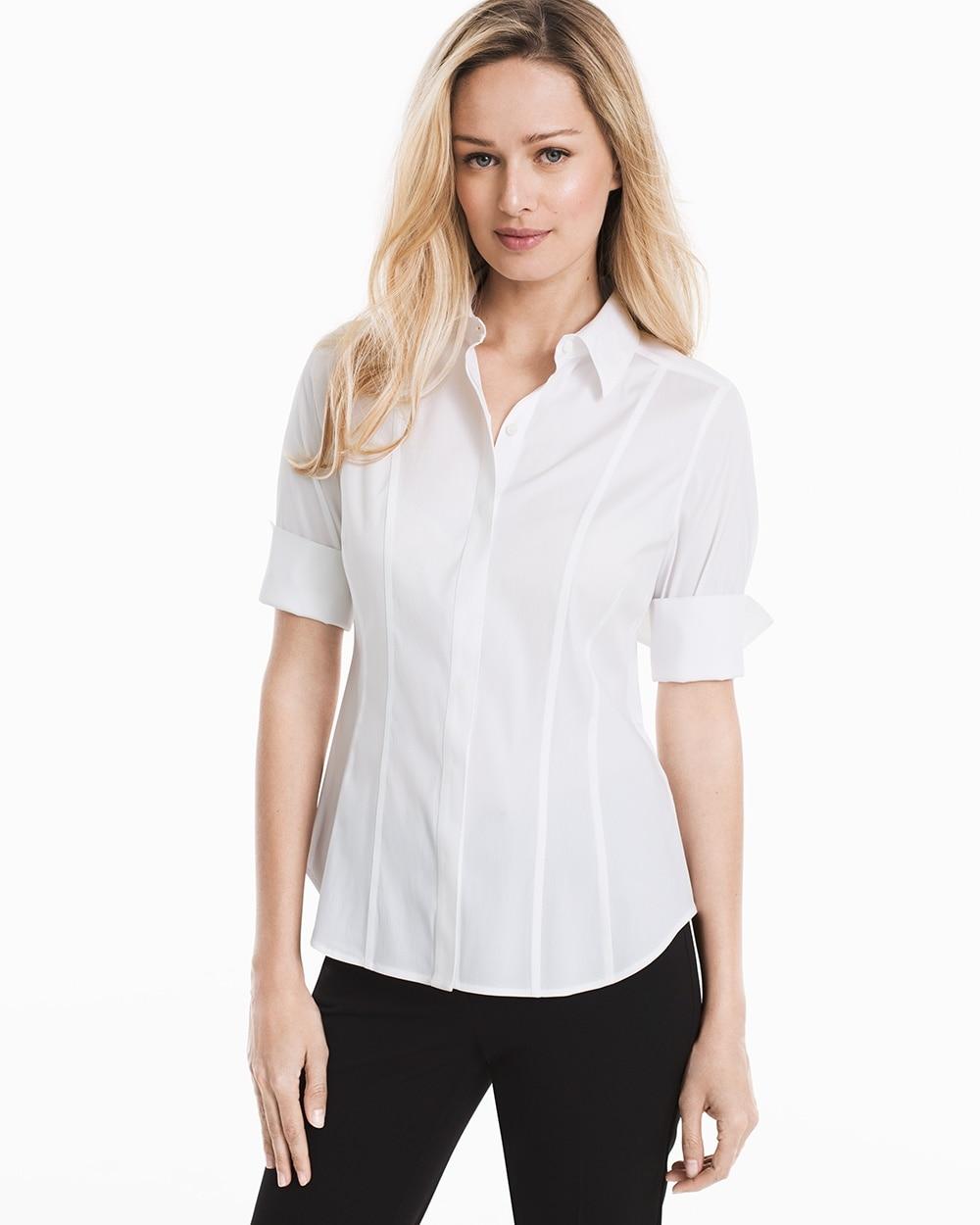 White Wrinkle Free Elbow Sleeve Poplin Shirt Whbm
