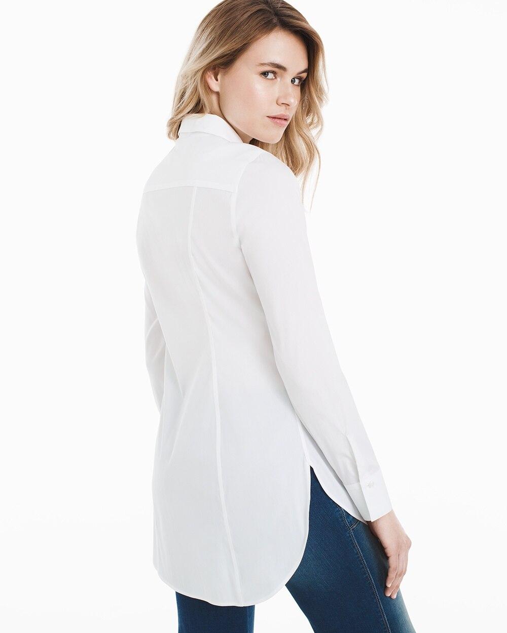 Wrinkle Free Long White Poplin Shirt Whbm