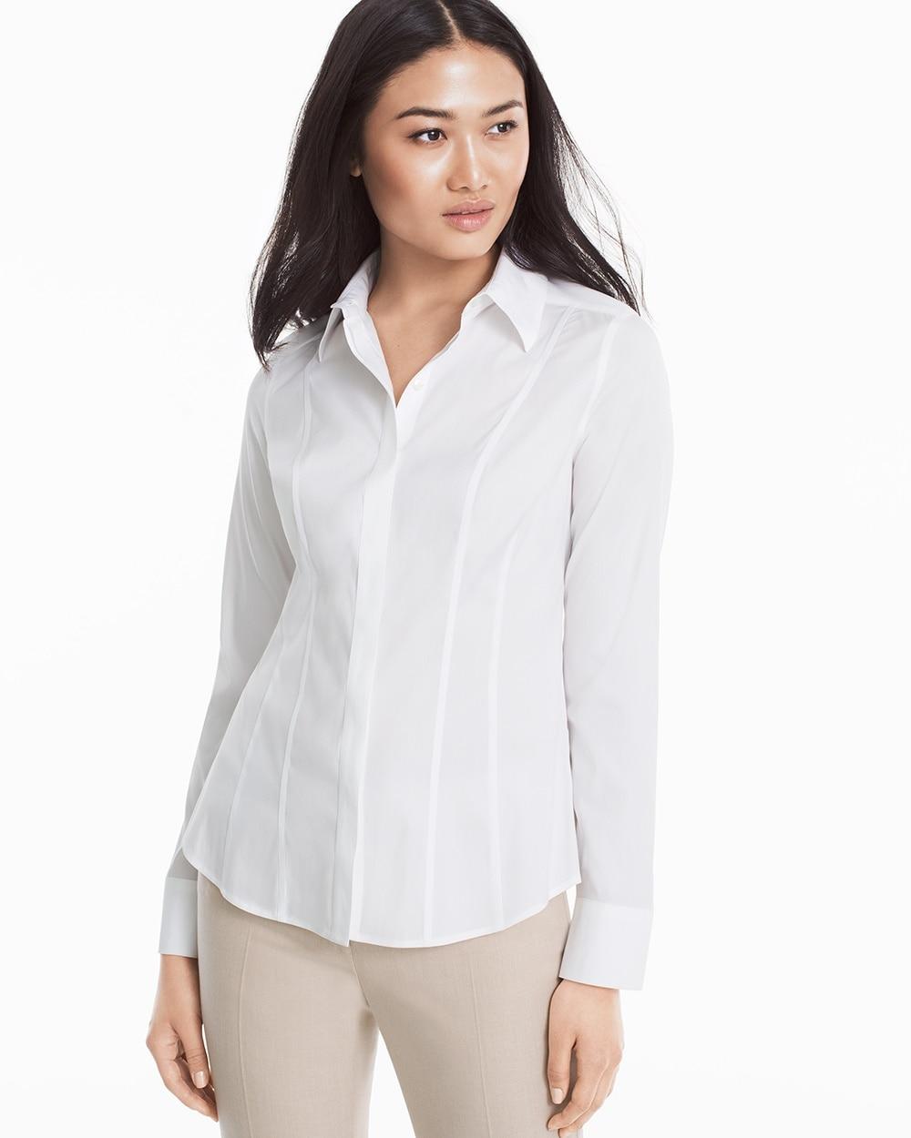Wrinkle Free Long Sleeve White Poplin Shirt Whbm
