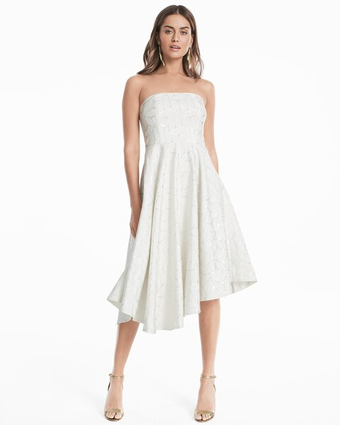 664f49634c842 Return to thumbnail image selection Strapless Metallic Fit-and-Flare Dress  video preview image, click to start video