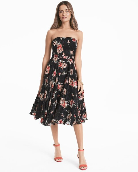 Strapless Floral Printed Midi Fit-and-Flare Dress - WHBM