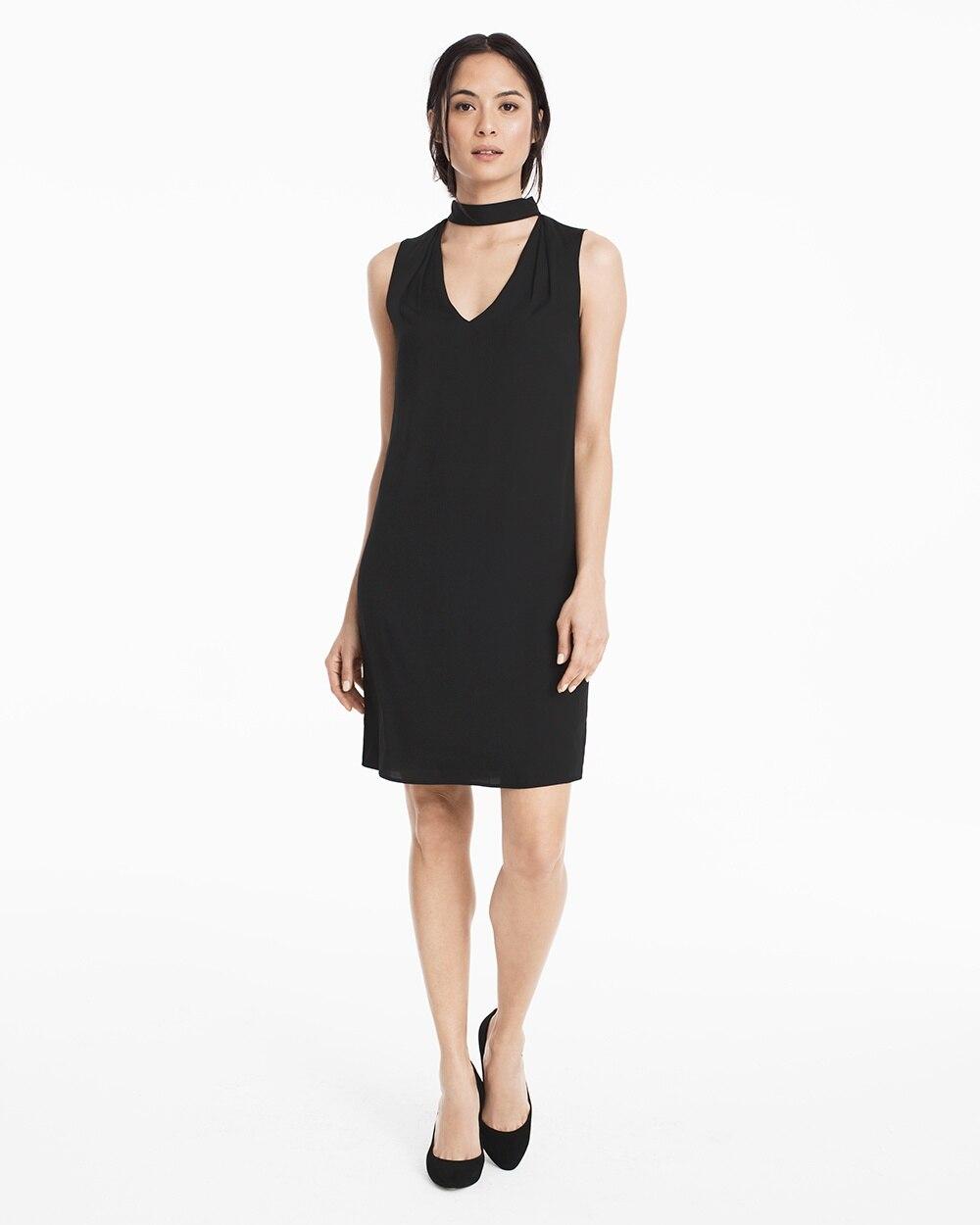 Sleeveless Choker Black Shift Dress White House Black Market
