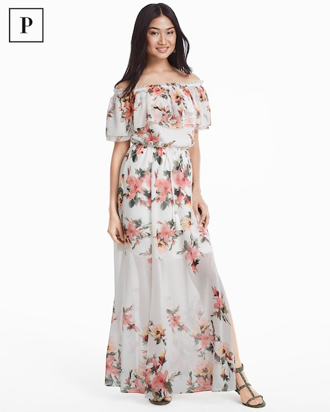 acc36eecc7db9 Return to thumbnail image selection Petite Off-the-Shoulder Floral Maxi  Dress video preview image