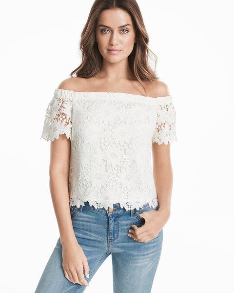 02173be6683f46 Off-the-Shoulder Lace Crop Bodice Top - White House Black Market