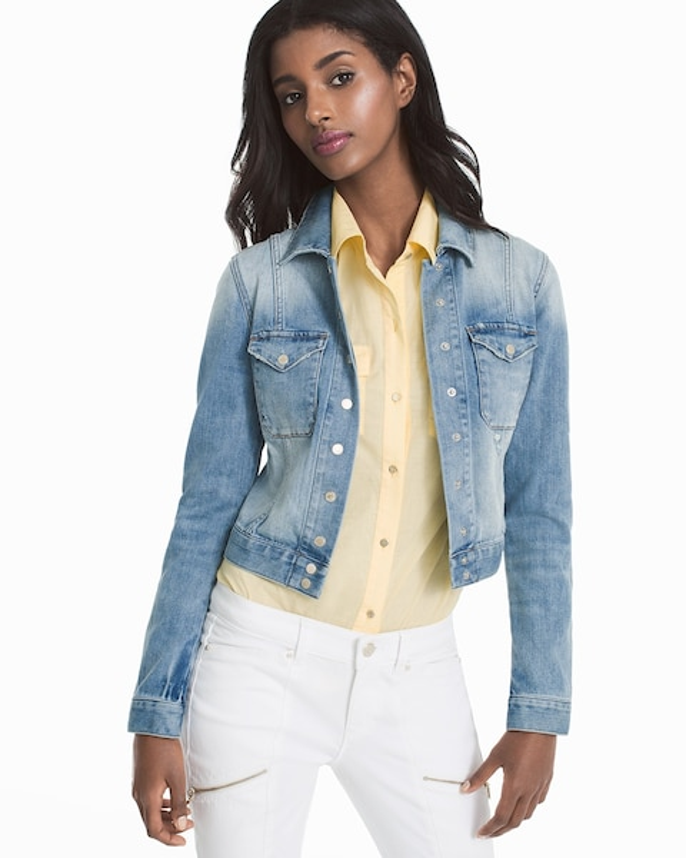 White house black market blue jean jacket